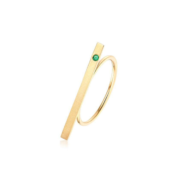 Emerald Accent Long Bar Dainty Ring in 14K Gold Factory Wholesale R2R1G11050