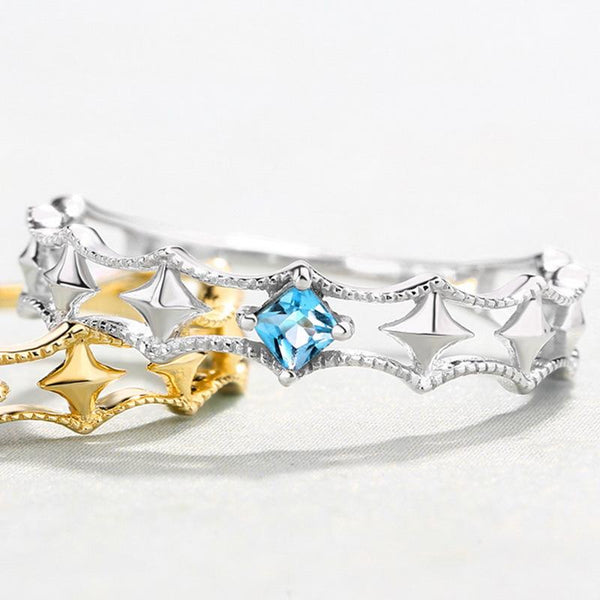 Topaz Accent Solid Stars Dainty Ring in 14K Gold Factory Wholesale R2R1G11052
