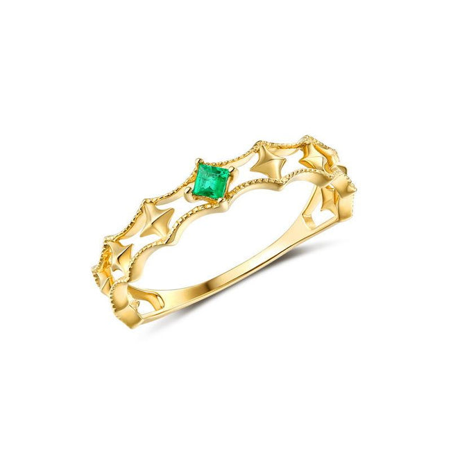 Emerald Accent Solid Stars Dainty Ring in 14K Gold Factory Wholesale R2R1G11051