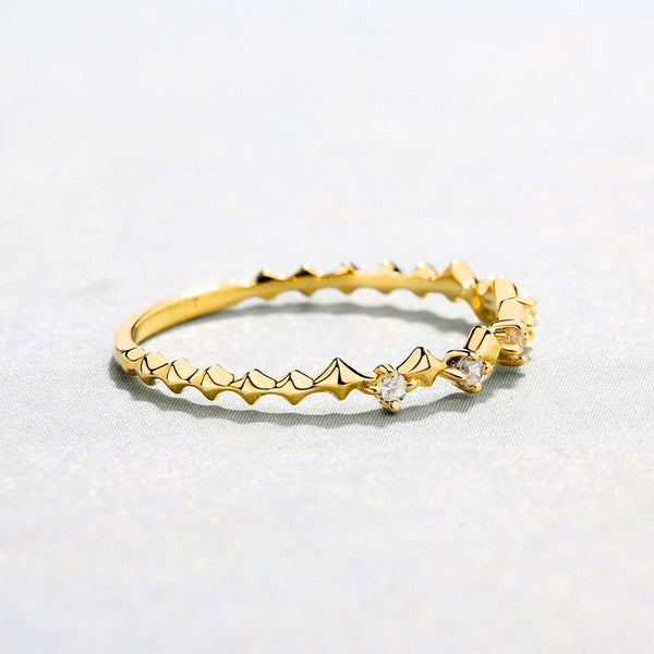 Cubic Zirconia Accent Patterned Stack Band Dainty Ring in 14K Gold Factory Wholesale R2R1G11054