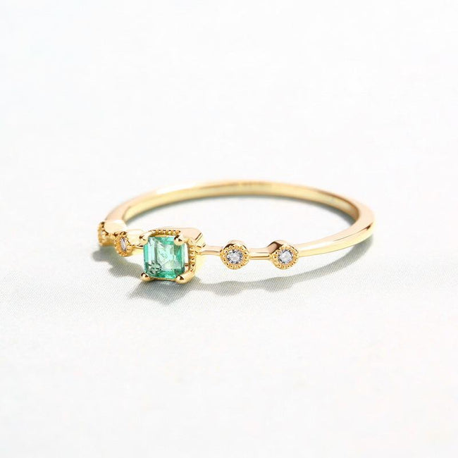 Solitaire Emerald Cubic Zirconia Accent Dainty Ring in 14K Gold Factory Wholesale R2R1G11055