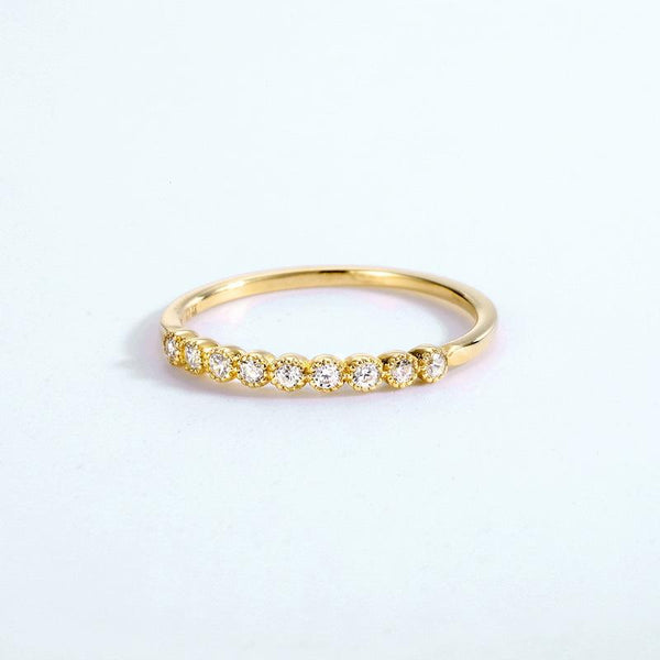 Cubic Zirconia Accent Eternity Stack Band Dainty Ring in 14K Gold Factory Wholesale R2R1G11057