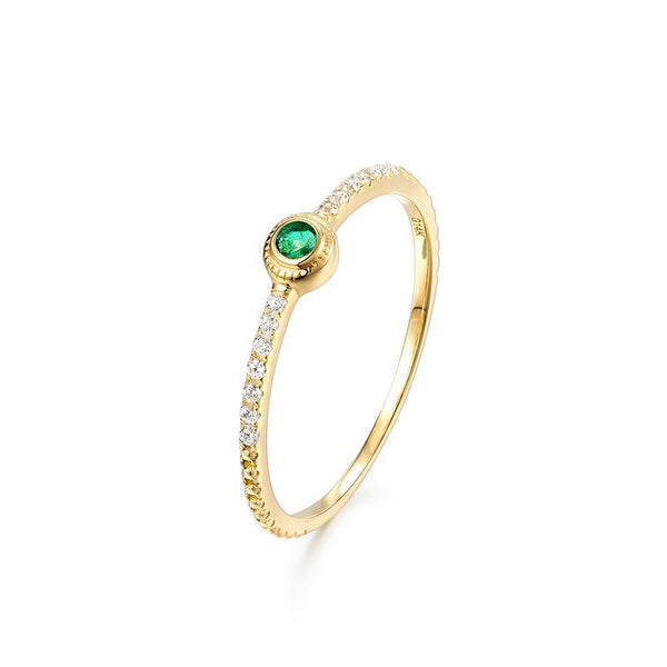 Solitaire Emerald Cubic Zirconia Accent Minimalist Band Dainty Stack Ring in 14K Gold Factory Wholesale R2R1G11058