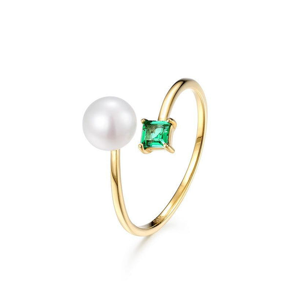 Emerald Pearl Minimalist Dainty Ring in 14K Gold Factory Wholesale R2R1G11059
