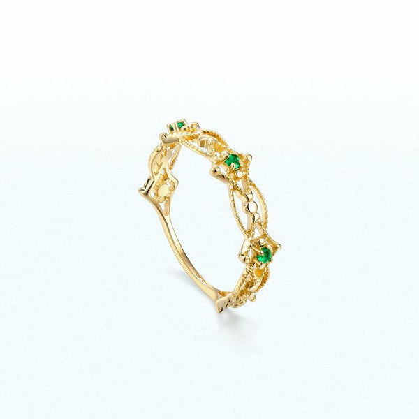 Emerald 3 Stone Filigree Dainty Ring in 14K Gold Factory Wholesale R2R1G11060