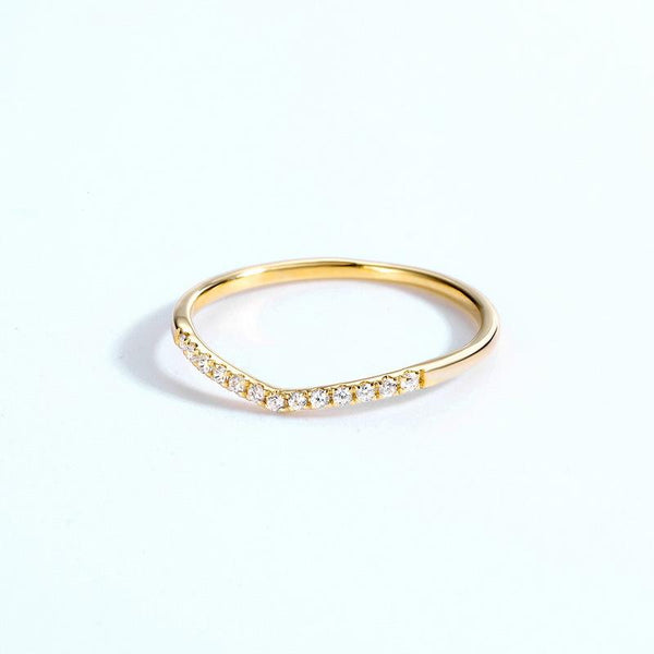 Cubic Zirconias Pave Chevron Stackable Band Dainty Ring in 14K Gold Factory Wholesale R2R1G11062
