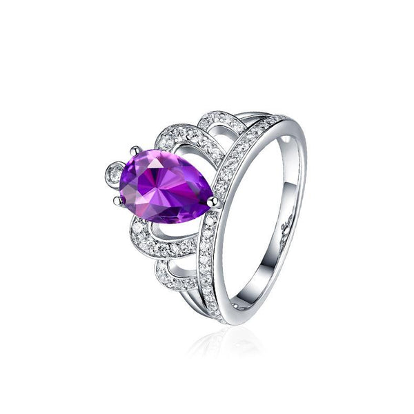 Authentic Amethyst Cubic Zirconia Accent Queen Crown Ring in Sterling Silver Factory Wholesale R2R1S21002