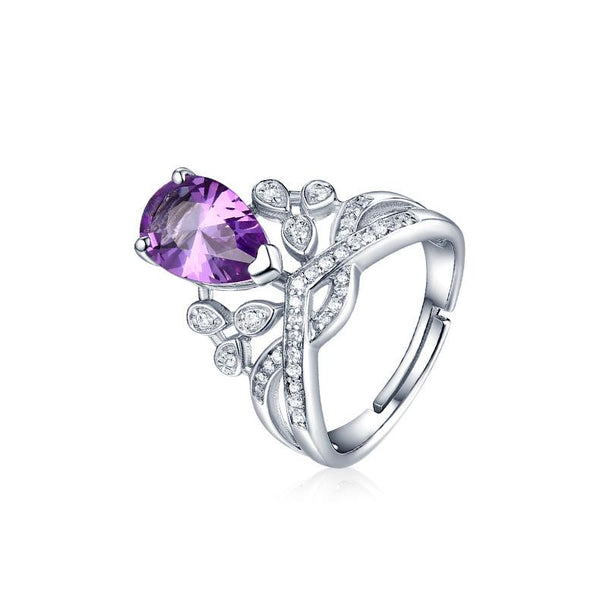 Authentic Amethyst Cubic Zirconia Accent High Crown Adjustable Ring in Sterling Silver Factory Wholesale R2R1S21004