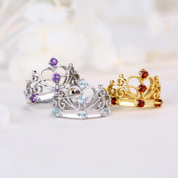 Real Amethyst Love Queen Crown Ring in Sterling Silver Factory Wholesale R2R1S21008
