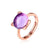 Real Amethyst Cubic Zirconia Accent Lovely Panda Little Bear Adjustable Ring in Sterling Silver Factory Wholesale R2R1S21009