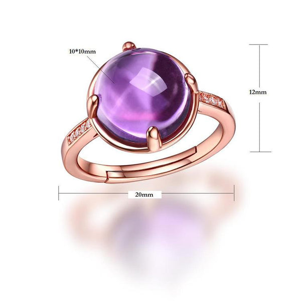 Genuine Amethyst Cubic Zirconia Accent Solitaire Adjustable Ring in Sterling Silver Factory Wholesale R2R1S21010