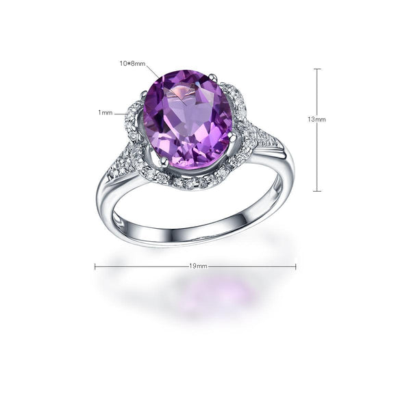 Genuine Amethyst Cubic Zirconia Accent Solitaire Flower Adjustable Ring in Sterling Silver Factory Wholesale R2R1S21011
