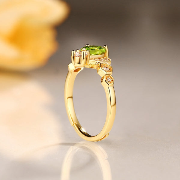 Genuine Peridot Cubic Zirconia Accent Adjustable Ring in Sterling Silver Factory Wholesale R2R1S21013