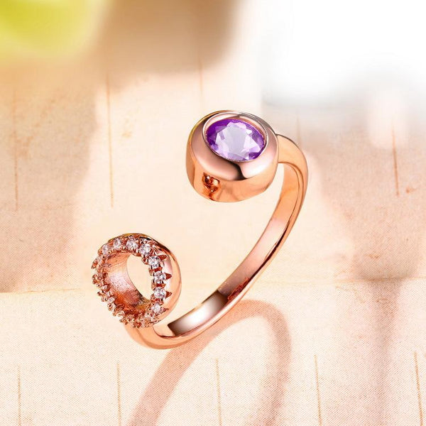 Genuine Amethyst Cubic Zirconia Accent Open Ring in Sterling Silver Factory Wholesale R2R1S21014