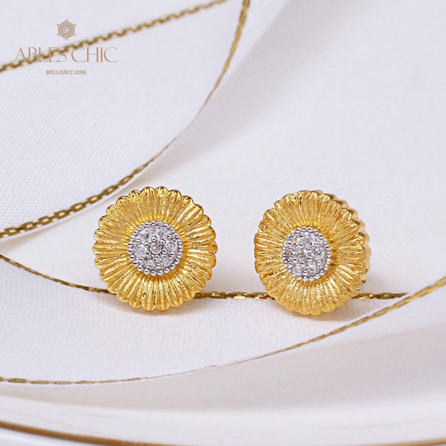 Real Gold Plated Two Tone Daisy CZ Earrings 925 Sterling Silver Iconic Flower Women Stud Earring Renaissance Jewelry C11E4S25260 Wholesale China
