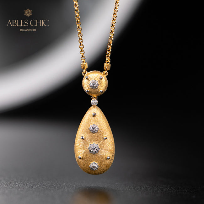 Renaissance Silky Teardrop 925 Solid Silver Flowers Pendant Handmade 18K Gold Tone Fabric CZ Charm Wedding Necklace C11N3S25024 Wholesale China