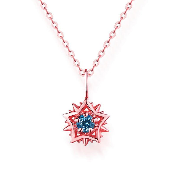 Round Natural Blue Topaz Star Necklace Charm Gemstone Pendant in 14K Gold (no chain) - Ables Mall