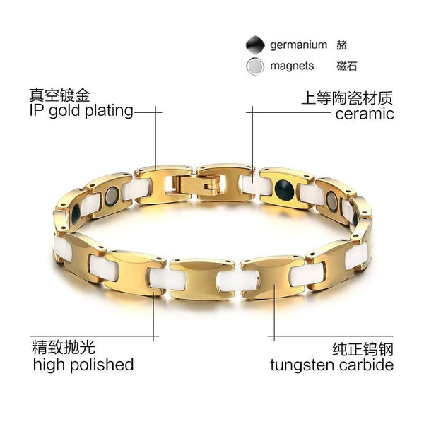 Gold Tungsten Carbide Tennis Bracelet With White Ceramic Links Therapy For Her Wholesale Plated 8mm - Ables Mall