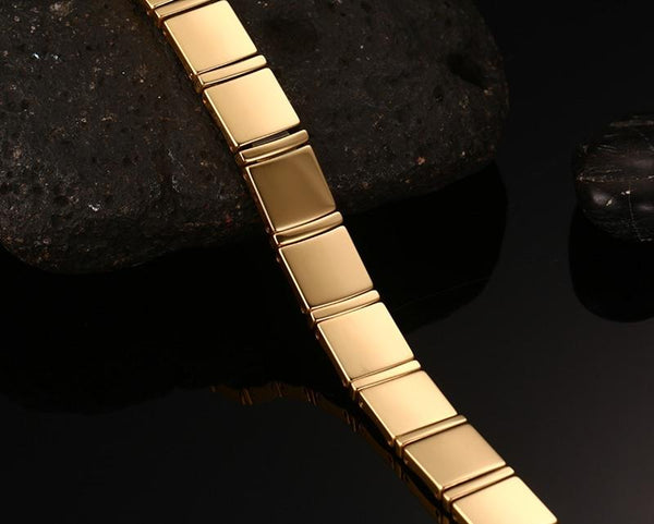 Gold Tungsten Carbide Square Links Tennis Bracelet With Magnetic Beads Therapy Wholesale Plated 11mm - Ables Mall