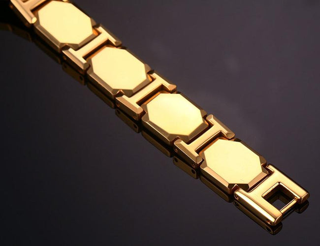 Gold Tungsten Carbide Cushion Links Tennis Bracelet With Magnetic Beads Wholesale Plated 11mm - Ables Mall