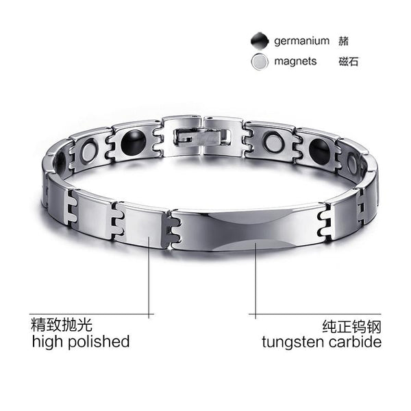 White Tungsten Carbide Baguette Tennis Bracelet With Magnetic Beads Wholesale 8mm - Ables Mall