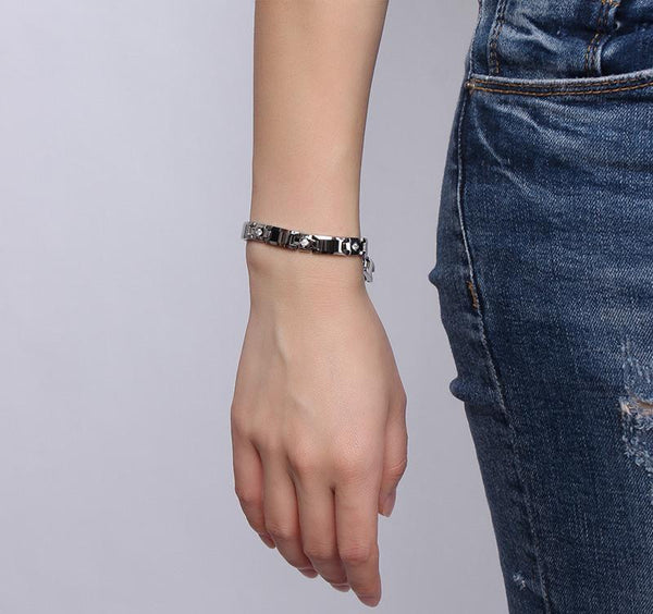 White Tungsten Carbide Cross Tennis Bracelet With Cubic Zirconia Wholesale 8mm - Ables Mall