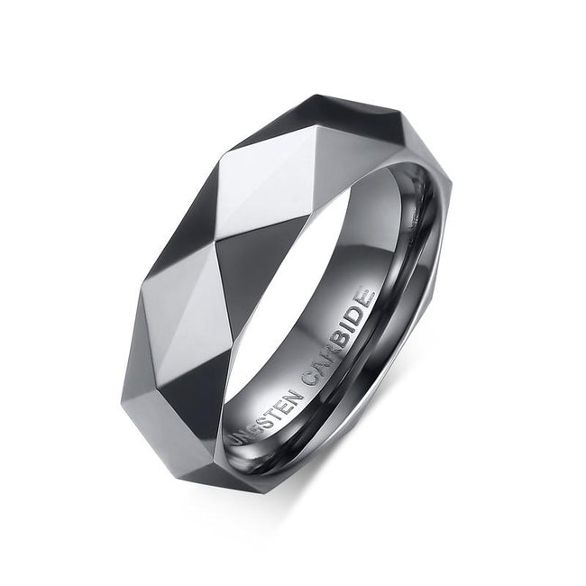 High Polished Tungsten Faceted Engagement Ring Diamond Cut Band Wholesale 6mm - Ables Mall