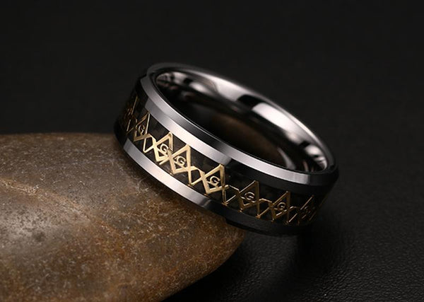 White Tungsten Masonic Engagement Ring Carbon Fiber Inlay Band Wholesale 8mm - Ables Mall