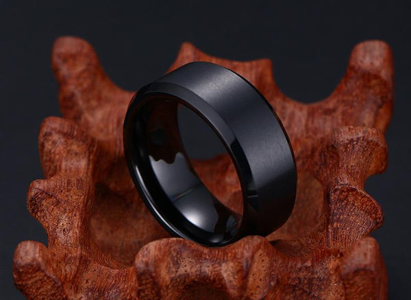 Gold Tungsten Engagement Ring Brushed Flat Black Wedding Band Plated Wholesale 8mm - Ables Mall
