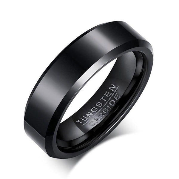Black Tungsten Plain Flat Engagement Band Beveled Ring Wholesale 6mm - Ables Mall