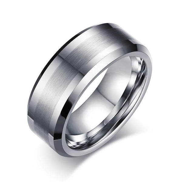 White Tungsten Brushed Center Engagement Band Flat Ring Wholesale 8mm - Ables Mall