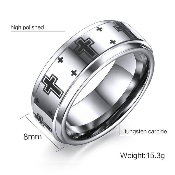 White Tungsten Wedding Band Cross Engagement Ring Wholesale 8mm - Ables Mall