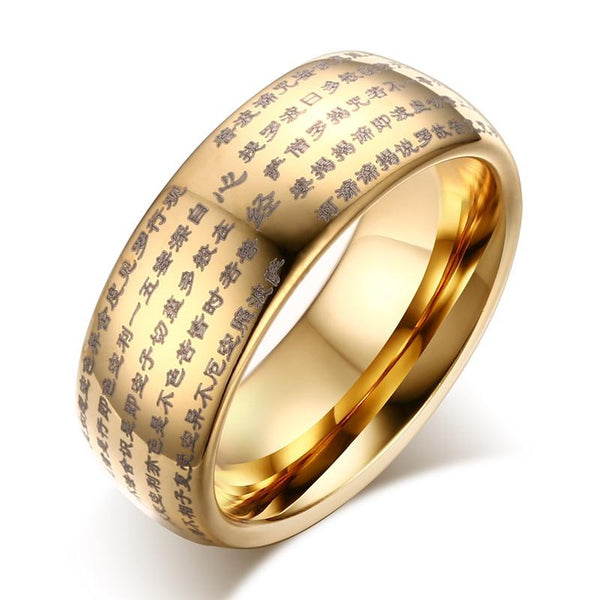 Gold Tungsten Sutra Band Buddhism Scripture Ring Wholesale Plated 8mm - Ables Mall