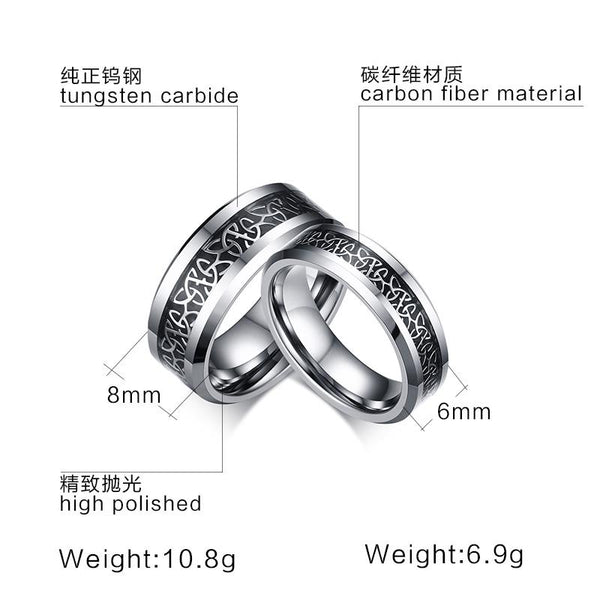 White Tungsten Ring For Couple Pattern Inlay Band Wholesale 6mm 8mm - Ables Mall