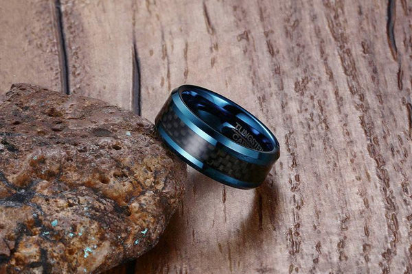 Blue Tungsten Engagement Ring Carbon Fiber Men's Band Wholesale 8mm - Ables Mall