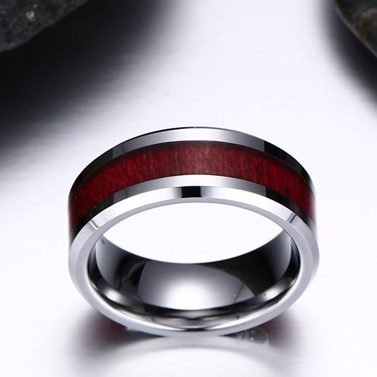 White Tungsten Engagement Ring Cherry Inlay Band Wholesale 8mm - Ables Mall