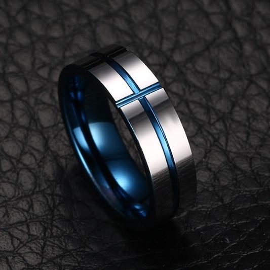 White Tungsten Engagement Ring Blue Cross Groove Lords Prayer Band Wholesale 8mm - Ables Mall