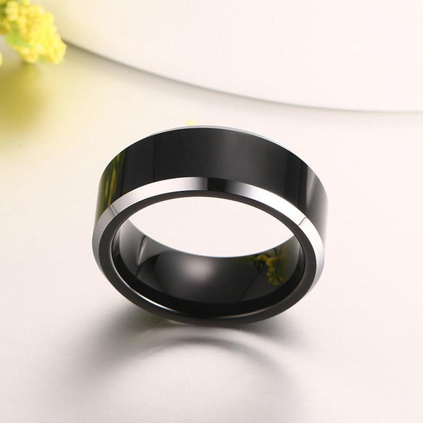 Black Tungsten Plain Mens Ring White Rim Engagement Band Wholesale 8mm - Ables Mall