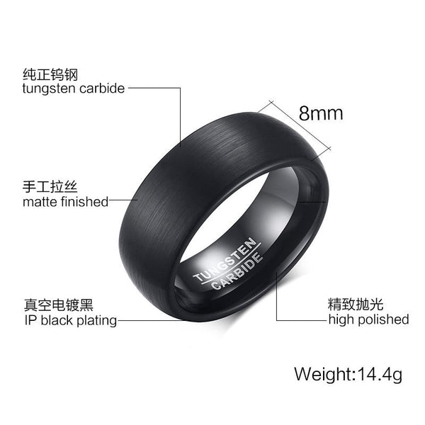 Black Brushed Tungsten Engagement Ring Domed Band Wholesale 8mm - Ables Mall