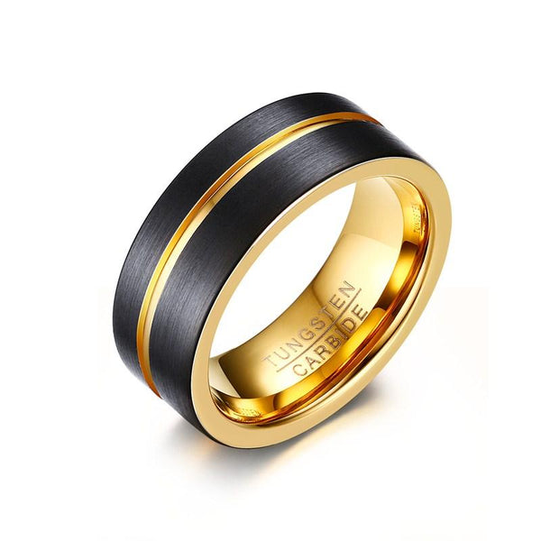 Gold Groove Tungsten Engagement Band Tough Flat Men Ring Wholesale Plated 8mm - Ables Mall