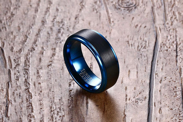 Black And Blue Tungsten Engagement Band Solid Mens Ring Wholesale 8mm - Ables Mall