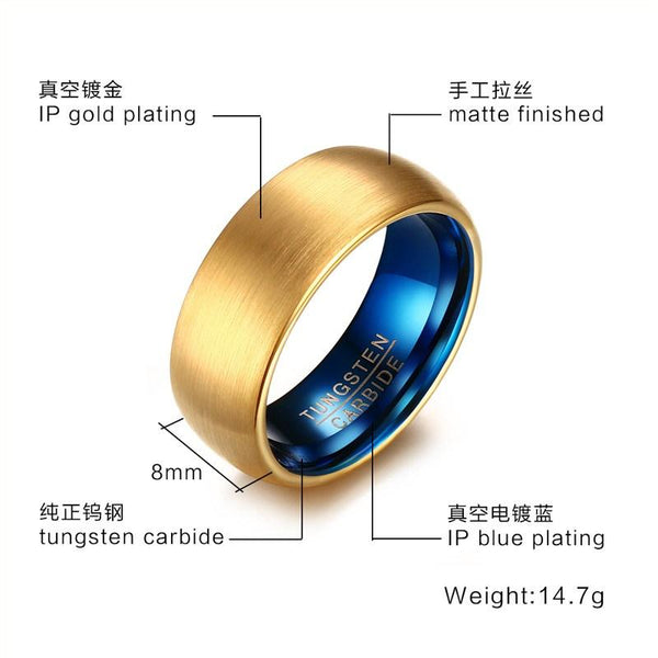 Gold Blue Tungsten Engagement Band Dome Men's Ring Wholesale Plated 8mm - Ables Mall