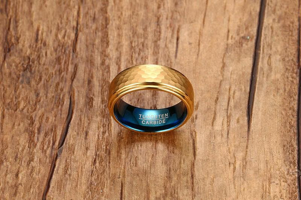 Gold Blue Tungsten Beaten Band Faceted Manly Engagement Ring Wholesale Plated 8mm - Ables Mall