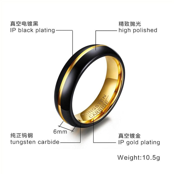 Black Tungsten Wedding Band Gold Groove Engagement Ring Wholesale Plated 6mm - Ables Mall