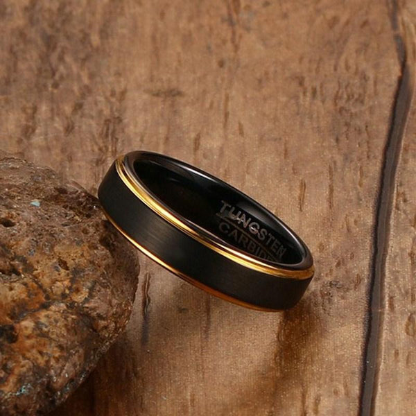 Black Tungsten Wedding Band Gold Rims Engagement Ring Wholesale Plated 5mm - Ables Mall