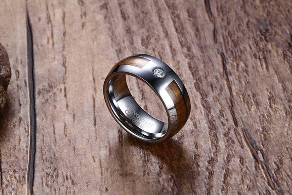 Wood Inlay Tungsten Band Solitaire Stone Engagement Ring Wholesale 8mm - Ables Mall