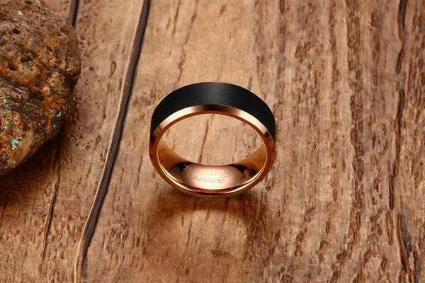 Rose Gold Tungsten Band Black Down To Earth Manly Engagement Wholesale Plated 8mm - Ables Mall