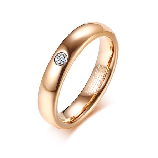 Rose Gold Tungsten Engagement Band Solitaire Stone Wedding Ring Wholesale Plated 4mm - Ables Mall