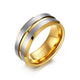 Gold Groove Tungsten Engagement Band Solid Men Ring Wholesale Plated 8mm