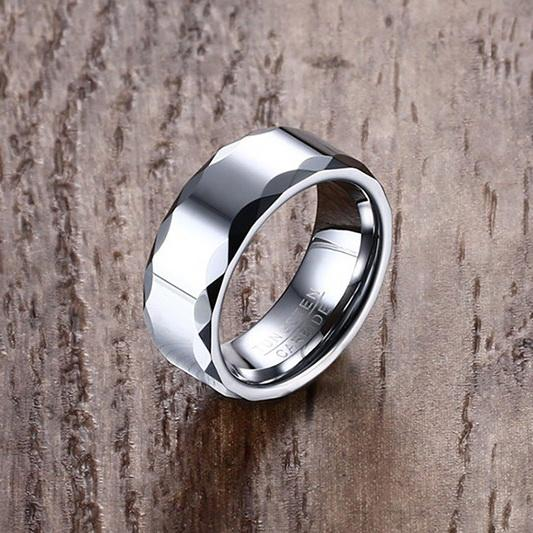 White Tungsten Faceted Rims Engagement Band Wedding Ring Wholesale 8mm - Ables Mall